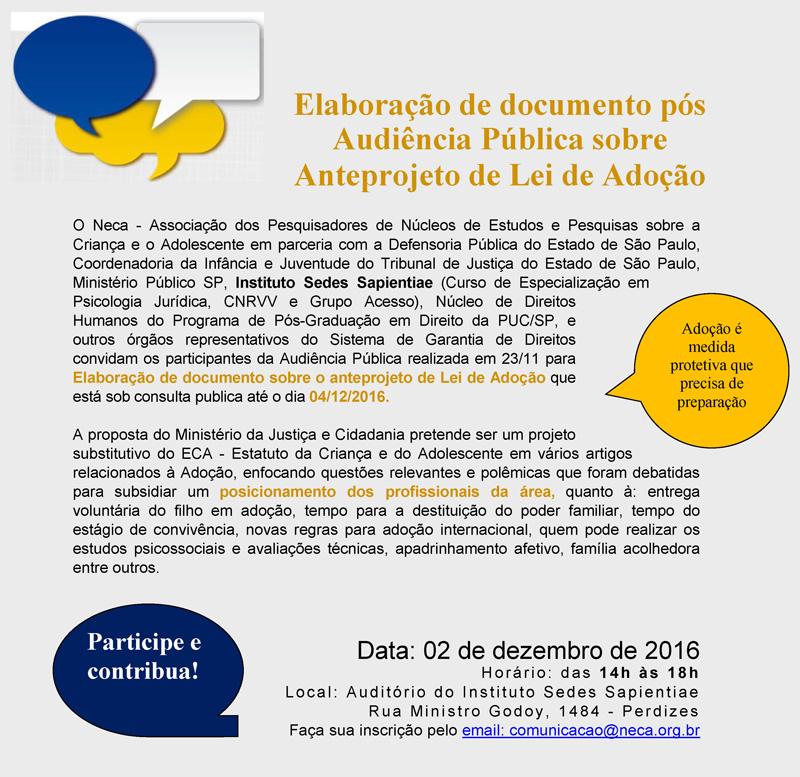 Elaboração de documento pós Audiência Pública sobre Anteprojeto de Lei de Adoção