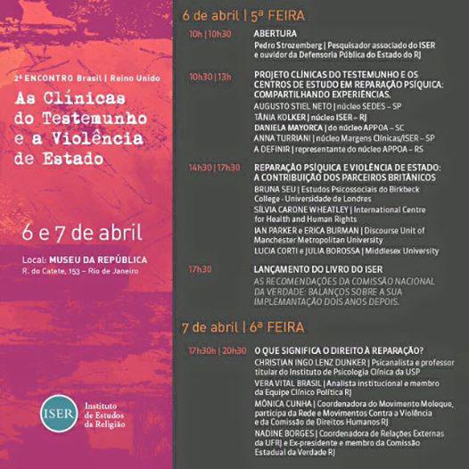 2º Encontro Brasil / Reino Unido – as Clínicas do Testemunho e a Violência de Estado