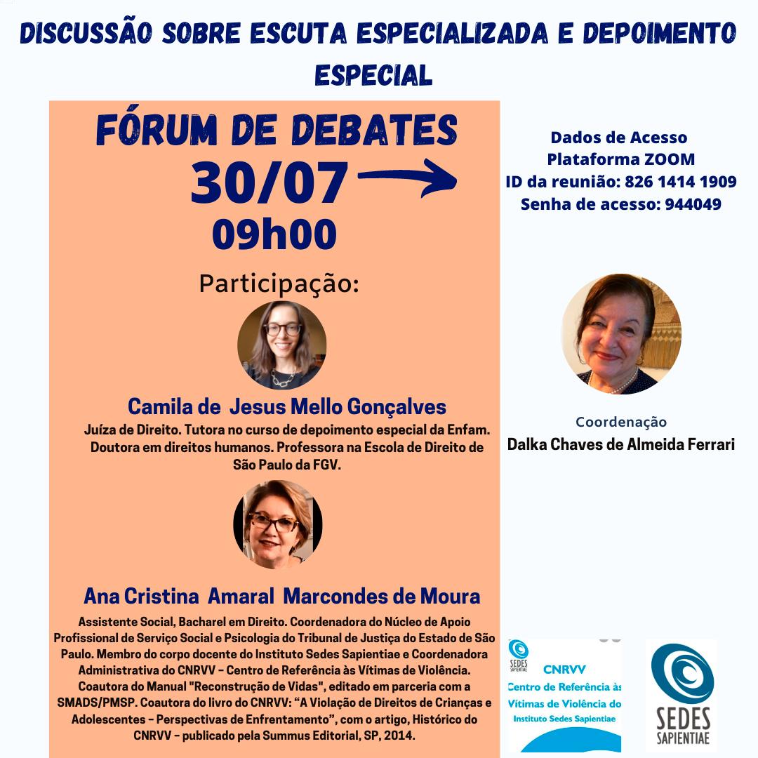 Fórum de Debates – CNRVV – Discussão sobre escuta especializada e depoimento especial